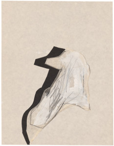 Jay DeFeo, Untitled (Bone series) [Estate No. E1931], 1975, graphite and acrylic with cut out collage on paper, 11 x 8 1/2 inches, courtesy: The Jay DeFeo Trust