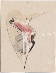 Jay DeFeo, Untitled (Bone series) [Estate No. E1934], 1975, graphite and acrylic with cut out collage on paper, 11 x 8 1/2 inches, courtesy: The Jay DeFeo Trust